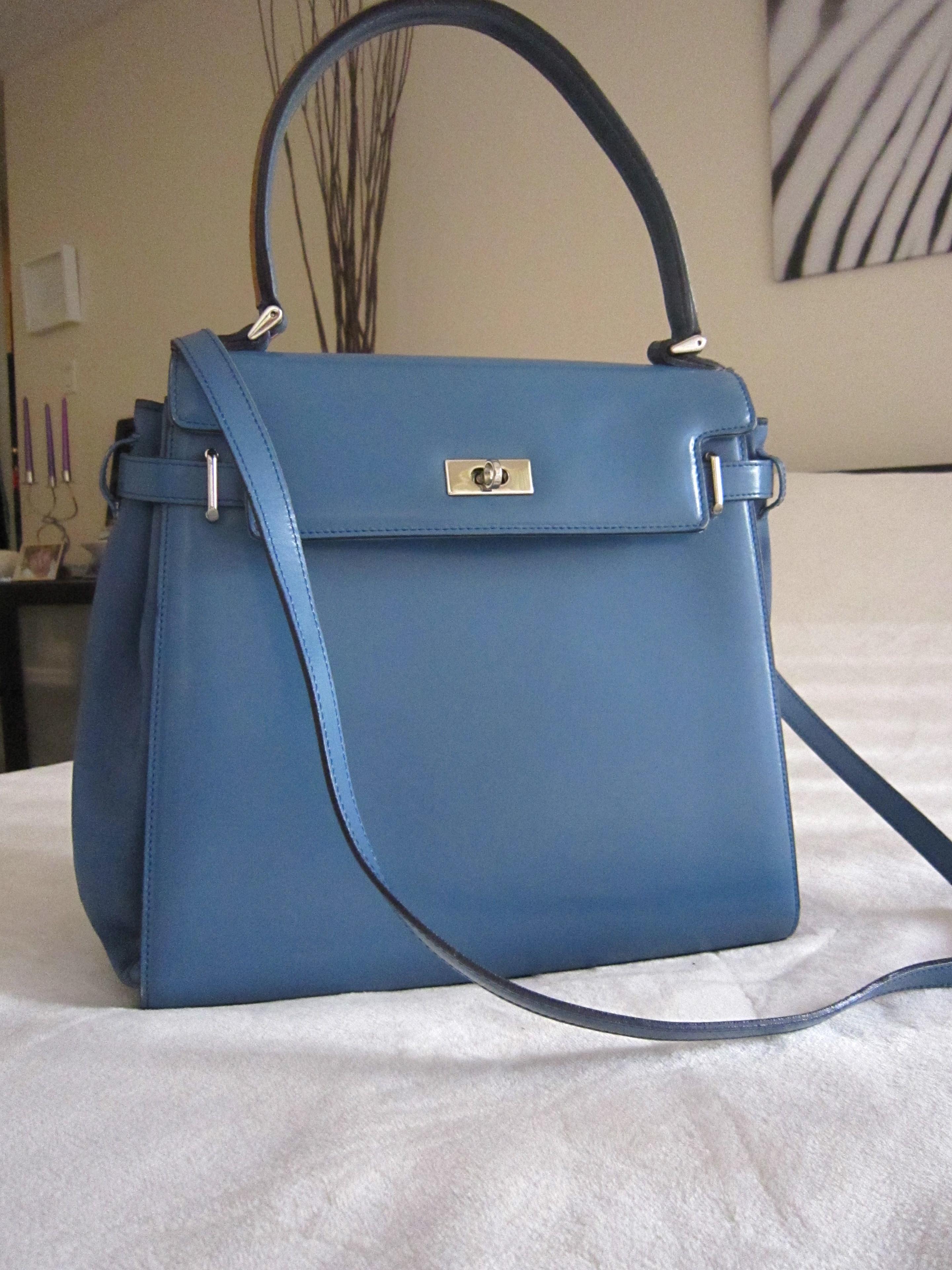 A Testoni Blue Satchel Signature Leather Handbag 3