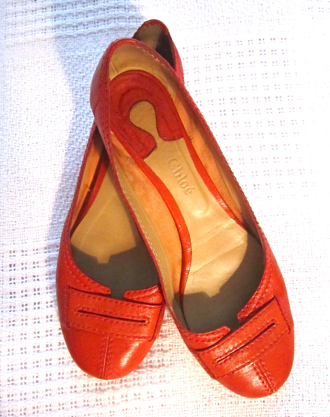 d4d293336bf8 Chloe Red Leather Ballerina Flats   Size 10 - Luxurylana Boutique