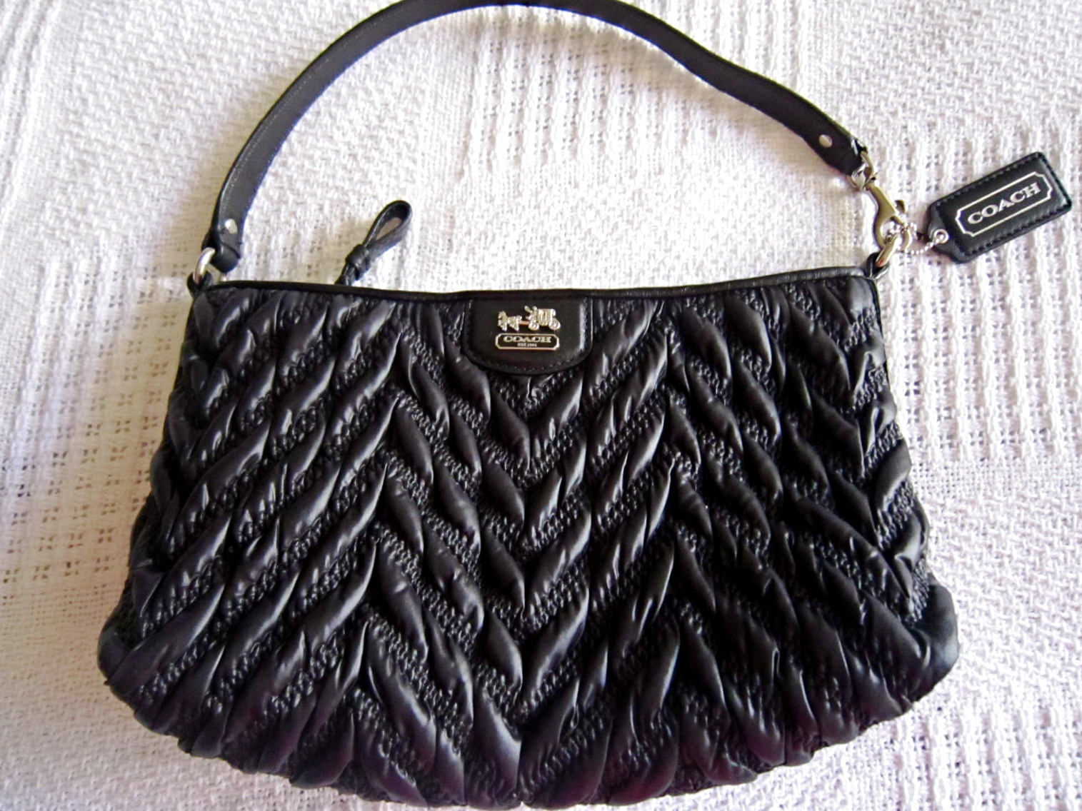 1ea3619ac285 Coach Black Madison Gathered Handbag