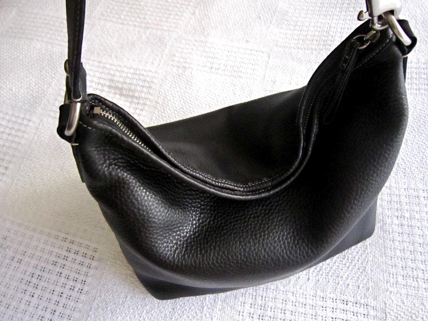 a5c2c633a Coach Black Pebble Leather Hobo Bag - Luxurylana Boutique