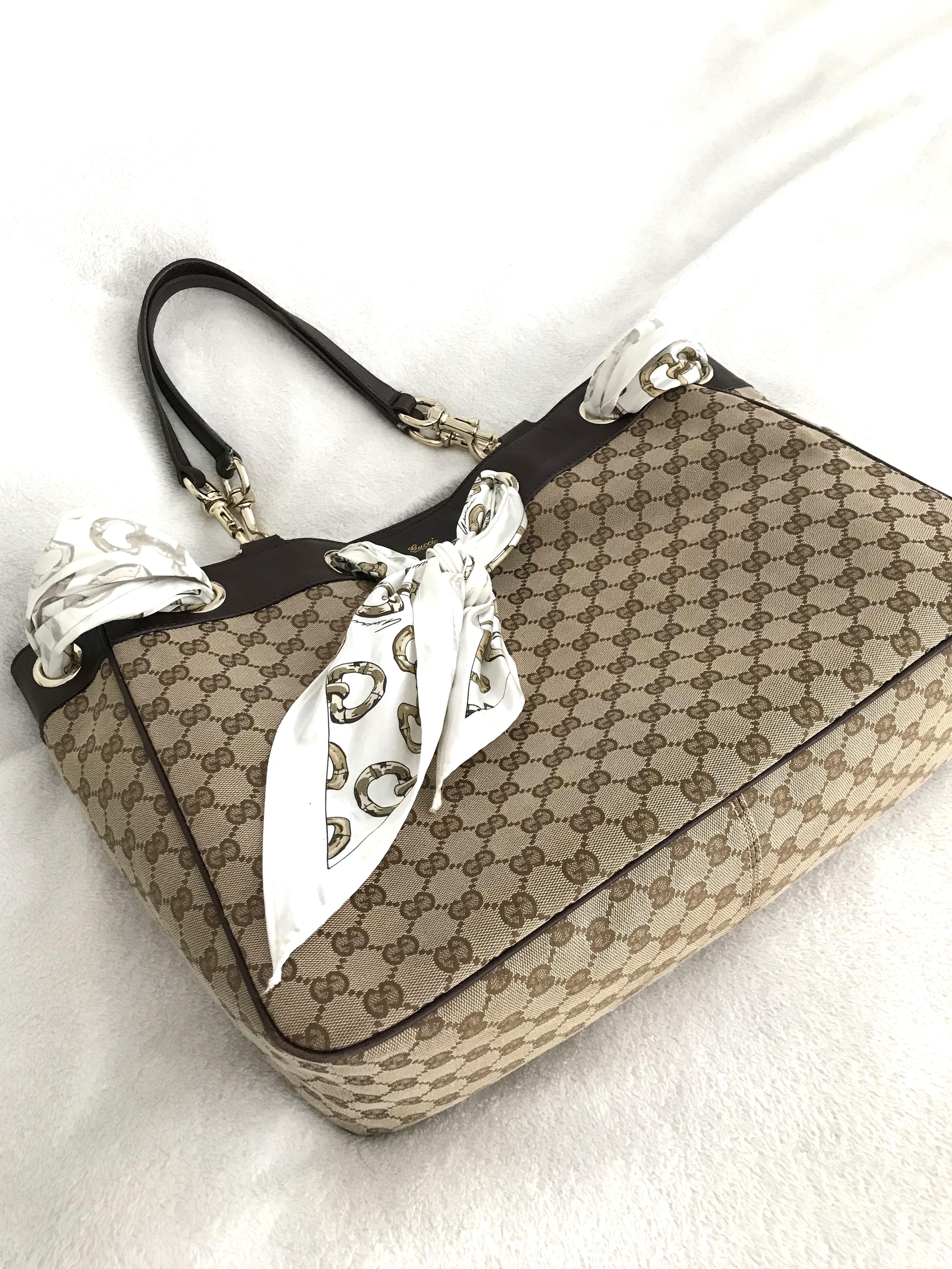 90c600876b5 Gucci Positano Large Tote With Scarf - Luxurylana Boutique