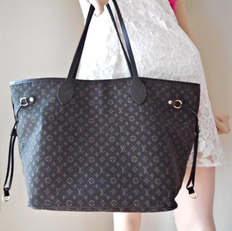 2fe8d7dfdab9 Louis Vuitton Fusain Monogram Idylle Neverfull MM Tote Bag ...