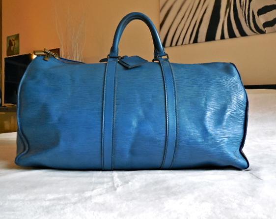 Louis Vuitton Keepall 50 Blue Epi Duffel Bag - Luxurylana Boutique