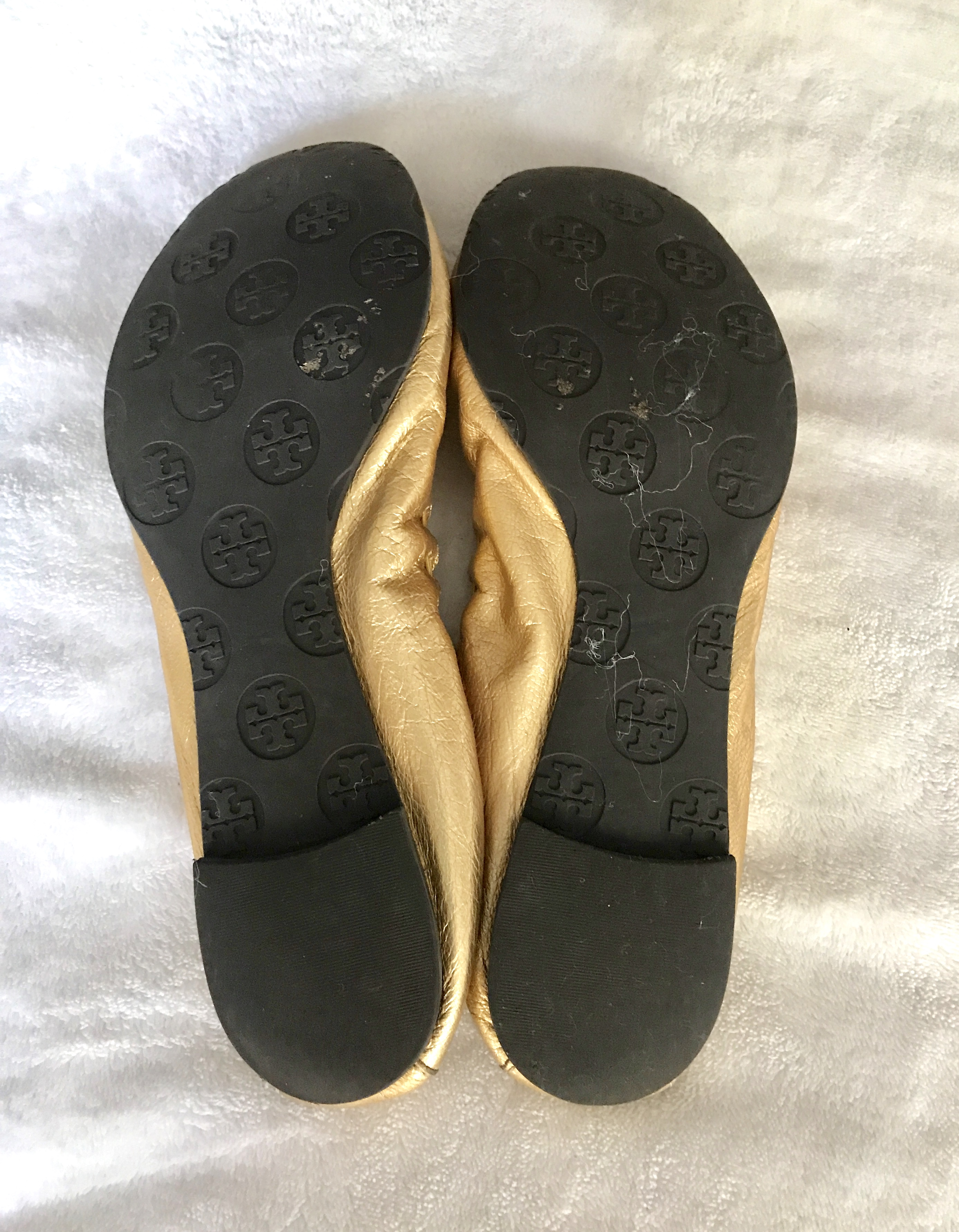3f90cd2cfb01 Tory Burch Gold Reese Ballet Flat   Size 8 - Luxurylana Boutique