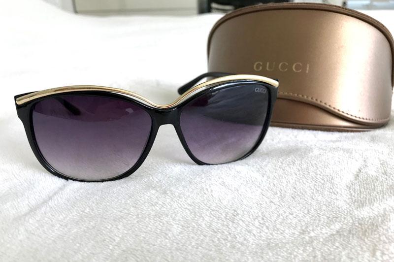 fdd8dbc3ab3 Home   Brand   Gucci   Gucci Oversized Black and Gold Sunglasses